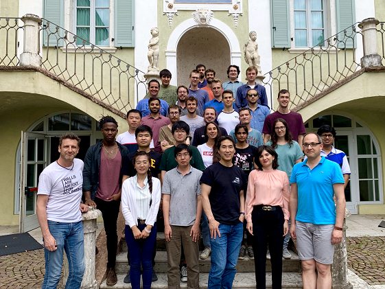 Davoudi at a summer school at the European Center For Theoretical Studies in Nuclear Physics (ECT*) along with participating students, including UMD students Siddhartha Harmalkar, Saurabh Kadam, and Andrew Shaw, Trento, Italy, Summer 2019. Photo credit: Andrew Shaw/ECT*.